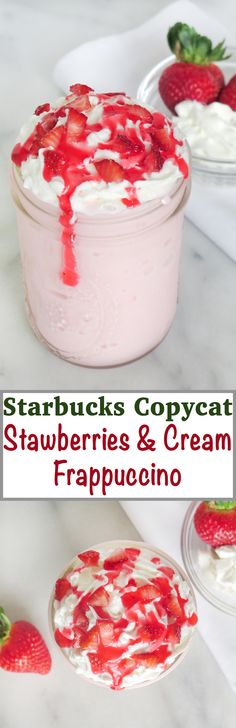 Forgo the line and make a Starbucks Copycat Strawberries and Cream Frappuccino at home!