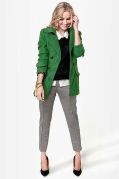 cute green coat.
