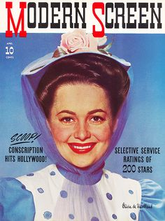 Olivia de Havilland on the cover of Modern Screen, 1941.