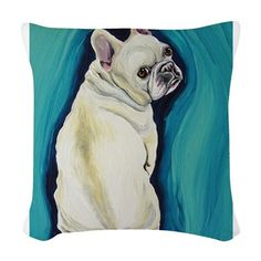 2c49337deff White French Bulldog Woven Throw Pillow on CafePress.com