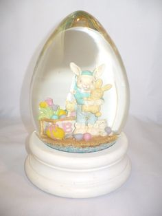 Egg Shaped Snow Globe Vintage Oversized Easter Bunny Collectible 8in Snow Dome