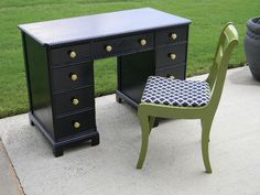 I have a similar little desk that is need of new paint and I cannot decide on a color. Painting in black will match the a-frame beams (old Tahoe) and granite. Or I could paint in navy blue like the exterior trim and interior accent color. Sigh. Suggestions?