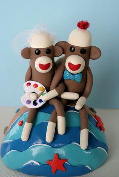 Artist Beach Destination Sock Monkey Wedding Cake Topper