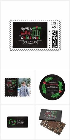 Holly Jolly Chalkboard #Christmas Set A charming, rustic chalkboard Christmas design with hand drawn holly and snowflakes, and typography in red, white, and green. #christmascards