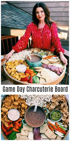 Game Day Charcuterie Board Game Day Charcuterie Board with lightened up black bean chili dip, veggies, meat, and cheese via Reluctant Entertainer® Chili Dip, No Bean Chili, Black Bean Chili, Black Beans, Snacks Für Party, Appetizers For Party, Appetizer Recipes, Snack Recipes, Meat Appetizers