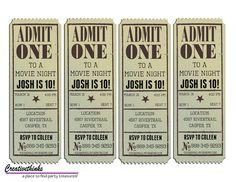 Editable Vintage Movie Ticket Invitation
