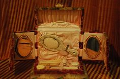 Antique Victorian Vanity Celluloid Decoupage Manicure Set