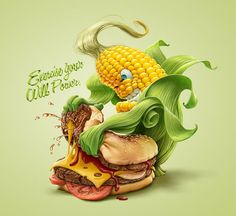 Illustrations : banane, frite et maïs par Oscar Ramos