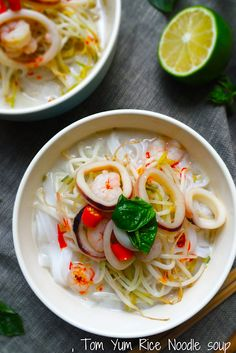 Tom Yum Noodle Soup - not packaged ramen, but crafted from scratch, amazing simple Thai Tom Yum Ramen. Tom Yum Noodle Soup, Rice Noodle Soups, Rice Noodles, Chinese Greens, Sour Soup, Oyster Sauce, Yams, Fresh Herbs, Cooking Time