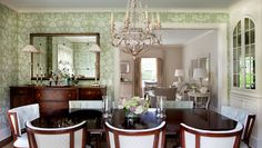 Dining room   Morgan Harrison Home   sideboard, buffet lamps, pieced mirror with rosettes, damask wallpaper