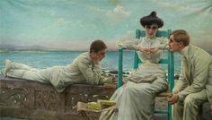 """""""In Lettura sul Mare"""", Vittorio Matteo Corcos (1859-1933): Ein Künstler, der die Vielseitigkeit der Frau virtuos zum Ausdruck bringt.  Empfehlenswerte Literatur: www.dberona.com"""