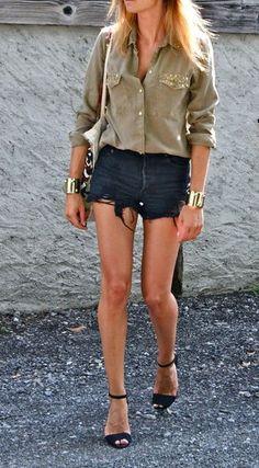 olive blouse, denim shorts, ankle strap heels