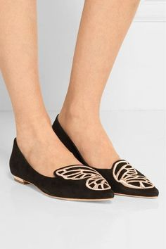 Sophia Webster - Bibi Butterfly Embroidered Suede Point-toe Flats - Black