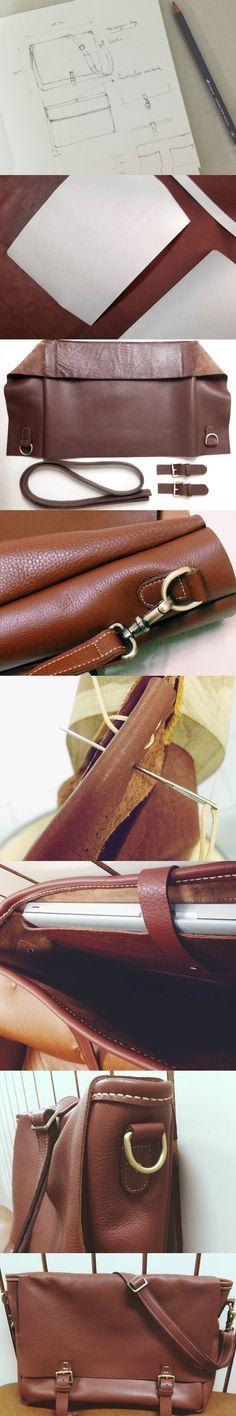 """Vintage Leather Messenger Bag Laptop / Macbook 15"""""""