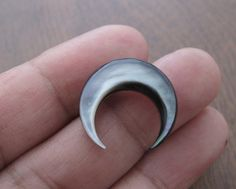 Double sided  20 mm  mother of pearl inlay  Crescent  , Boho , Jewelry making supplies S7415