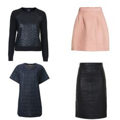 #HowToWearIt - Quilted: Get the look (clockwise from top left): Topshop quilted sweater, $90, topshop.com; H&M quilted skirt, $50, hm.com; Topshop quilted pencil skirt, $200, topshop.com; Maria Calderara quilted t-shirt dress, $452, farfetch.com #InStyle