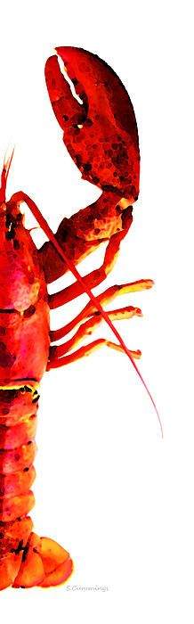 Lobster - The Right Side Painting by Sharon Cummings - Lobster - The Right Side Fine Art Prints and Posters for Sale