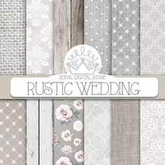 "Wedding digital paper :"" RUSTIC WEDDING "" with white wedding background wedding textures for wedding invites wedding cards royaldigitalstore 4.80 USD"