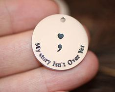 Polished  316L Stainless Steel  charm, 25mm/ Sentence  pendant, My story isn't over yet charm, Semicolon charm, Heart charm