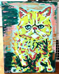 Pastel Pop Art Cat Custom Painting by ThatsHighlyOffensive on Etsy https://www.etsy.com/listing/229491381/pastel-pop-art-cat-custom-painting