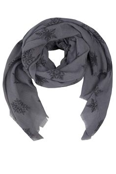 Oversized scarf in ink grey with pattern of charcoal snowflakes. Easy to wear as a scarf or as a stole due to its size. Soft and flawlessly elegant. Size: 100 x 200 cmMaterial: woolColour: Ink grey and charcoal greyCare: Hand wash Grey Scarf, Oversized Scarf, Danish Design, Snowflakes, Scarves, Ink, Wool, Elegant, Copenhagen