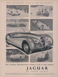 1952 Jaguar XK Sports Car Ad Victories Photos by AdVintageCom