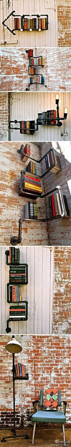 What a very cool idea. Alas, I fear the books would often tip over and slide down the wall. Depends on the placement of the pipes, I guess.