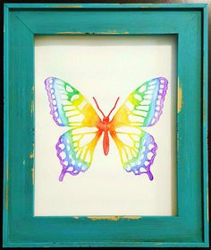 Framed Watercolor Butterfly Painting  Rainbow by MyHappyHeartArt