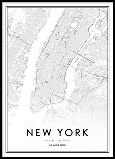 """Poster von New York. Stilvolles Schwarz-Weiß-Foto mit dem Text """"New York City""""…. Poster of New York. Stylish black and white photo with the text """"New York City"""". The poster fits well into a frame, whether in a modern or classic Einrichtung. New York Poster, City Map Poster, World Map Poster, Map Posters, New York City Map, City Maps, New York Art"""
