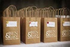 Wedding guest gift bags. For whenever they check into the hotel.