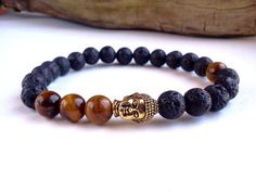 Mens Buddha bracelet, Lava Stone bracelet, Tigers Eye bracelet, Antique Gold…