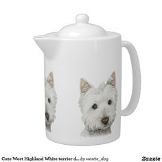 Cute West Highland White terrier dog teapot