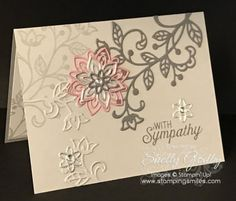 "Do you usually reach for a green ink pad when you want to stamp stems and leaves? I'm ditching green and using the other ""g"" color for my elegant Stampin' up! Flourishing Phrases sympathy card tutorial. Click to watch my sympathy card tutorial with Flourishing Phrases Stamp Set here if the video is not displaying"