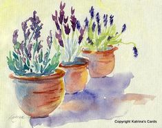 Items similar to Lavender in Terracotta Watercolor Print on Etsy Pen And Watercolor, Watercolour Painting, Watercolor Flowers, Painting & Drawing, Watercolors, Illustration Blume, Art Impressions, Painting Inspiration, Flower Art
