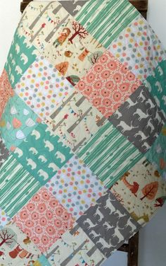 Baby Girl Quilt, Elephant, Deer, Elk, Mint, Coral, Yellow, Gray, Woodland, Chevron, Baby Blanket, Baby Bedding, Crib Bedding,Nursery Quilt by CoolSpool on Etsy https://www.etsy.com/listing/196607406/baby-girl-quilt-elephant-deer-elk-mint