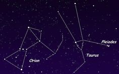 Image of the constellations of Orion and Taurus, and the asterism known as the Pleiades