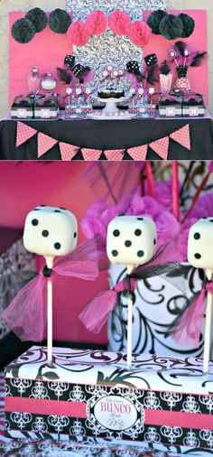 Love the dice pops (50s theme?) Love the back drop (could hang 3 pieces wrap paper vertically)