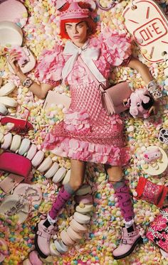 Cara Delevingne in pink Chanel dress is a Barbie doll dipped in kawaii candies for LOVE magazine Fall Winter 2014 Photography by Liz Collins. Foto Fashion, Fashion Shoot, Editorial Fashion, Fashion Art, Magazine Editorial, Pink Fashion, Instagram Photography, Editorial Photography, Fashion Photography