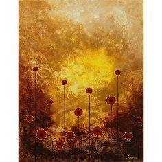 NOVICA Signed Abstract Afternoon Flowers Painting