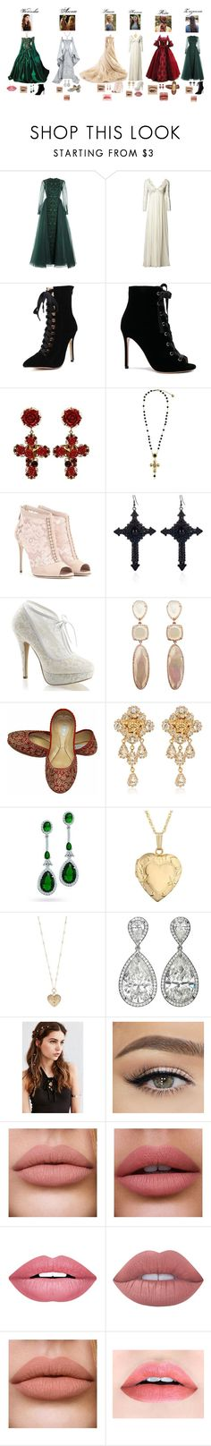 """""""Outfit #68 - Medieval #2"""" by mientowaaa ❤ liked on Polyvore featuring Valentino, Matthew Williamson, Gianvito Rossi, Dolce&Gabbana, River Island, Versace, Bling Jewelry, Reeds Jewelers, Betsey Johnson and REGALROSE"""