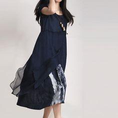 женщины белье и шелк голубое платье / Ретро печать отдых по babyangella