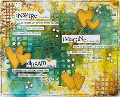 Art journal page: Inspire, Imagine, Dream! For Visible Image DT
