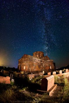 Milky Way and Armenian cemetary (one of Suren Manvelyan's photos in his Night Armenian Spirit series)