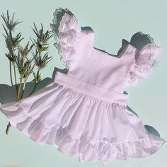 "White Batiste ""Fern"" Pinafore with Bloomers Vintage baby girl toddler inspired reproduction chiffon lawn lace ruffle cupcake poodle circle skirt Sunshine clothing handmade heirloom 1950 retro keepsake"