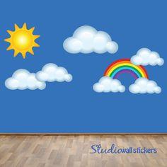 REUSABLE Clouds Sun Rainbow Wall Decal - Childrens Fabric Wall Decal - REUSABLE Wall Decals. $68.00, via Etsy.