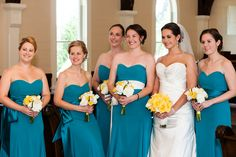 Bridal party at Tybee Island Wedding Chapel.  Wedding colors we love!  Beautiful REAL Brides on Tybee Island, Georgia. Cariad Photography