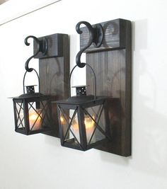 New Rustic Wall Decor With Black Metal Candles.. . This Is For A Set Of 2  Hanging Lanterns On Dark Walnut Stained Boards. ***Please Note That Due To  The ...