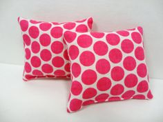 Pink & White Miniature Accent Pillows  Barbie by ElleLaLaBoutique, $3.45