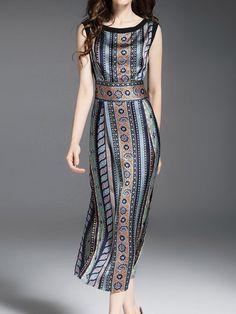 Sleeveless Sheath Casual Printed Midi Dress - Style We Look Fashion, Womens Fashion, Fashion Design, Modest Fashion, Fashion Dresses, Look Boho, Moda Casual, Western Dresses, Casual Dresses
