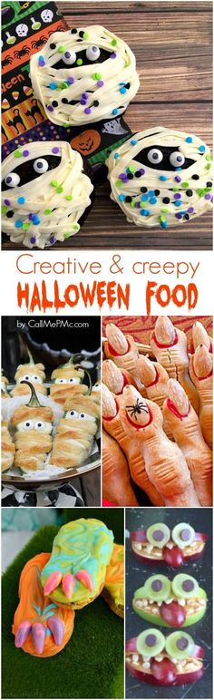 Kids and adults alike love Creative Creepy Halloween Food. Check out these recipes and add them to your Halloween party menu or kids' snacks! Halloween Desserts, Creepy Halloween Food, Theme Halloween, Hallowen Food, Halloween Food For Party, Halloween Birthday, Halloween Cupcakes, Holidays Halloween, Witches